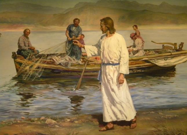 Jesus y apostoles pescando